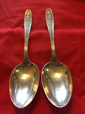Set Of 2 International Sterling Silver Wedgwood Pattern Serving Spoons