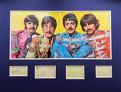 THE BEATLES autographs framed with Sgt Peppers album cover - signed John Lennon