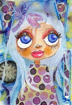 Aceo Original Painting Girl w/ Dragonfly  Mixed Media Whimsy Art by FAiRyPiGGleS