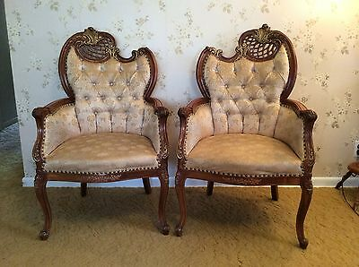 Antique VTG French Gilded Rococo Louis XV Hollywood Arm Chairs