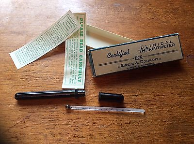 Vintage Glass Rectal Thermometer by Eisele & Company, Box, Instuctions