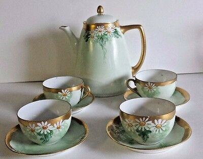 Antique Ohme Silesia Porcelain Chocolate Tea Coffee Set Green w/ Gold Trim