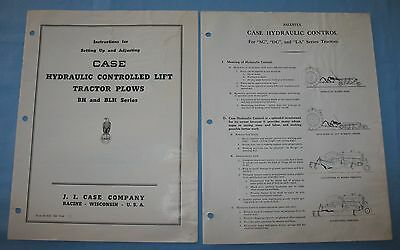 Two 1949 J. I. Case Instructions Setting Up Hydraulic Control Lift Tractor Plows