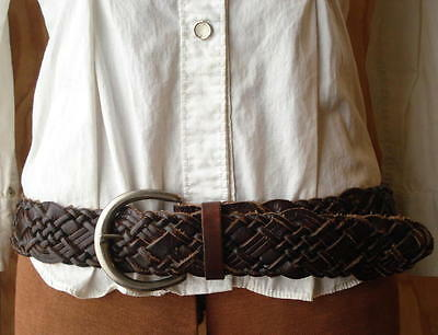 Fossil Brown Wide Braided Woven Leather Hip/Waist Belt & Buckle -Womens Size M/L