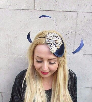 Navy Blue Cream Partridge Statement Feather Fascinator Headband Hat Races 2370