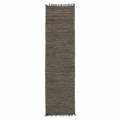 NEW Rug Culture Indra Jute & Leather Runner Rug, Natural/Black