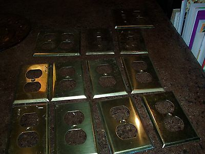 LOT OF 12 Solid Brass Outlet Covers
