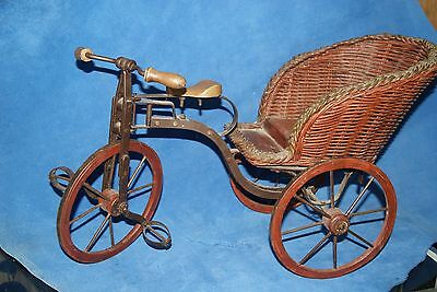 Antique 3-Wheel Doll Bicycle W/wicker Sidecar  Doll Eclectic Cool