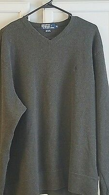 Polo by Ralph Lauren heather gray sweatshirt, XL, 100% cotton,v-neck,long sleeve