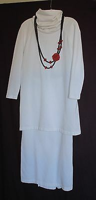 Vintage Norma Kamali Suit ~ White Fleece Pencil Skirt & Tunic Top Outfit ~ Sz 10