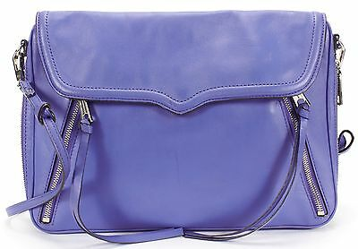 REBECCA MINKOFF Authentic Blue Leather Side Zip Expandable Shoulder Bag