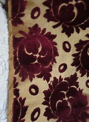 Antique Cut Velvet Remnant Panel Silky Gold &Burgundy Red Rose Floral Fabric1yd