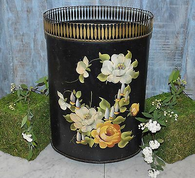 Antique Tole Umbrella Stand or Trash Can Black Floral Painted Toleware