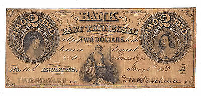 1855 The Bank of East Tennessee, Jonesboro Branch Two Dollar Note - Low # Note