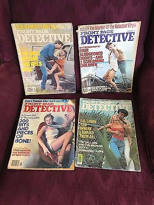 Lot of 4 Front Page Detective Crime Magazines issues from 1970's