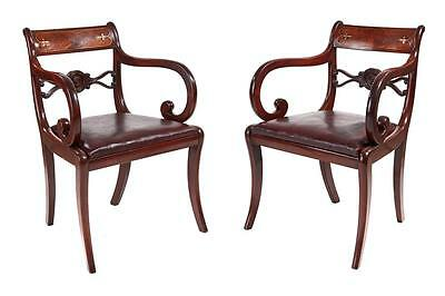 Pair Of 19Th Century Regency Mahogany Inlaid Elbow Chairs