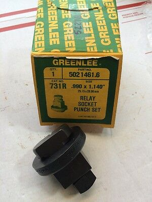 "Greenlee 731R .990"" x 1.140"" Rectangle Relay Socket Knockout Punch Set 25x29mm"