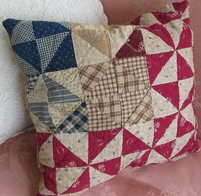 """Antique Hand Made Quilt Pillow 13x13"""" Accent/Throw Chic Country Shabby Cottage"""