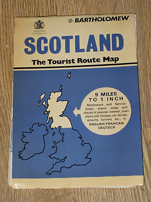 Scotland  Map Tourist Route Map Fold Out Paper  1975  Vintage   Vgc