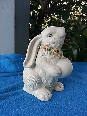 Cute Easter Bunny Rabbit Figurine Holding Egg *Floweres""