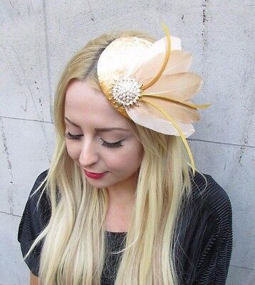 Velvet Champagne Gold Ivory Statement Feather Fascinator Races Headband Hat 2373