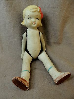 """Vintage BISQUE China DOLL ~  7"""" Jointed Arms & Legs ~  MADE In JAPAN ~ Needs TLC"""