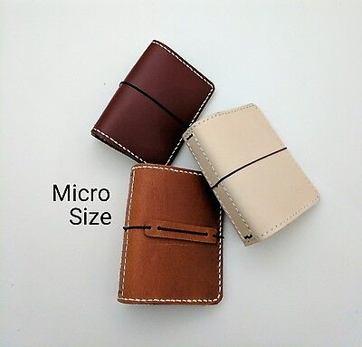 Micro Size Travelers Notebook Wallet Genuine Leather Chic Sparrow Nano Style
