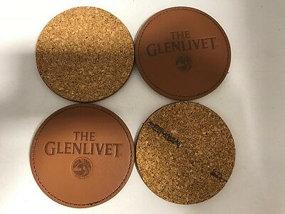 Glenlivet Scotch Whiskey Tan Round Cork and leatherette Lot Of  4 Coasters  Bar