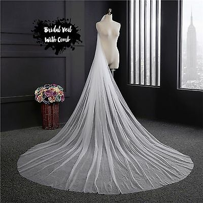 3 Meters Length Bridal 1 TIER Veil With Comb Soft Tulle Wedding Accessories