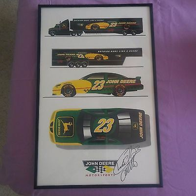 John Deere Signed by Chad Little Nascar Framed Poster Picture