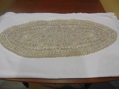 Stunning Antique Hand Embroidered Table Runner 30 X 13