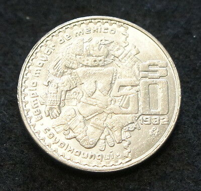 1982 Mexican 50 Pesos in AU Condition Nice Large Collectible Coin !