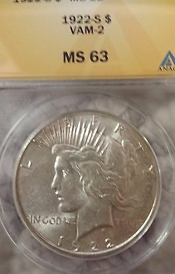 1922 S Peace Silver Dollar!  WOW! Great details! ANACS MS 63!