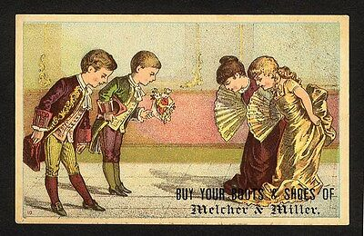 LEWISTON MAIN Melcher & Miller Shoes Boots Trade Card 1880's CHILDREN Dancing