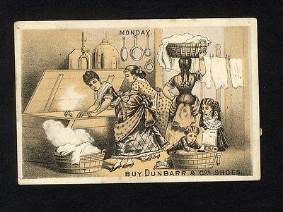 BOOTS SHOES Trade Card 1880's MARYSVILLE California FLANNERY Women Doing Laundry