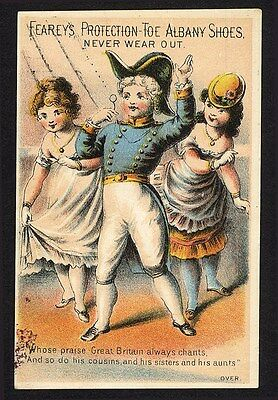 CLAREMONT NEW HAMPSHIRE Boots Shoes Trade Card 1880's E F JOHNSON Fearey's Shoes