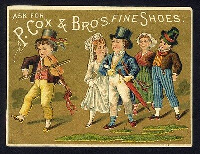 P COX & BROS Fine Shoes Trade Card 1880's BRIDE & GROOM Clark's New York 8th Ave