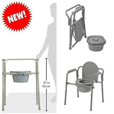 Bedside Commode Padded Seat Arm Toilet Pail Bucket Folding Chair Medical Elderly