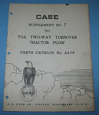 1951 J I Case Dealers Sup Parts Catalog # A 475 2-Way Turnover Tractor Plow Farm