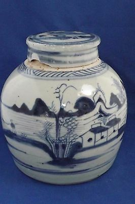 Antique Chinese Canton Blue And White  7 Inch High Ginger Jar And Lid