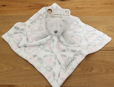 Blankets & Beyond Baby Girl Plush Security Blanket~Owl~ Bear~ White, Pink & Gray