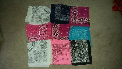 Lot of 9 Misc Colored Bandanas Pink White Blue Vintage to Present