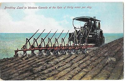 Early 1900's Vintage postcard Agriculture Steam Engine Tractor Plow Farm Canada