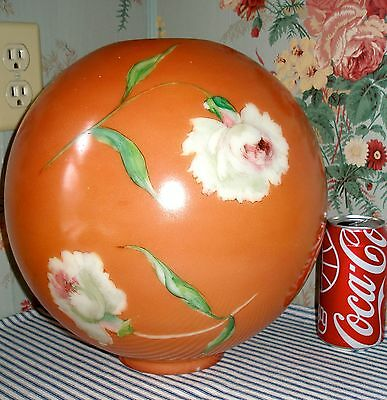 """LARGE 11"""" Vintage Replacement GWTW Parlor Banquet Lamp Ball Shade, CARNATIONS!"""