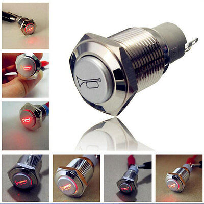 12V Red LED Lighted Push Button Switch 16mm Momentary Horn Car Boat Bell Horn