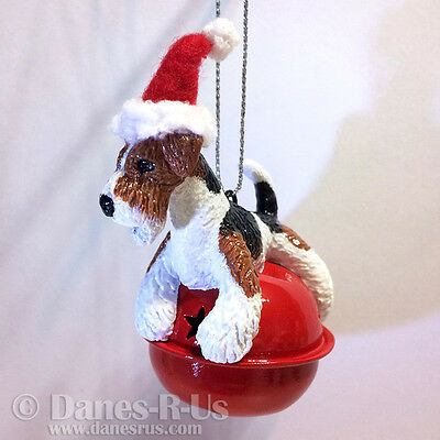 Wire Fox Terrier Dog on Red Sleigh Bell with Santa Claus Hat Christmas Ornament