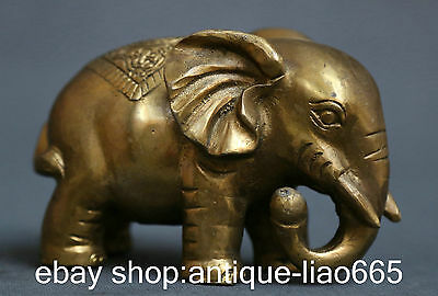 """5.1""""Chinese Pure Bronze Fengshui Marked Wealth And Worldly Glory Elephant Statue"""