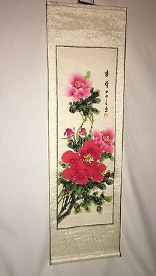 """Vintage Chinese Paper & Fabric Scroll Wall Hanging Hand Painted 36"""" L x 11.25 W"""
