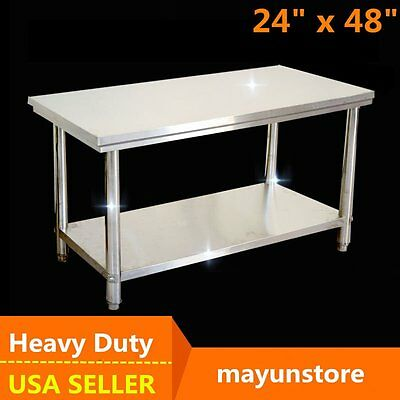 "24"" x 48"" Prep Table Commercial Stainless Steel Work Food Kitchen Restaurant USA"