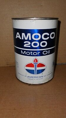 Vintage Amoco 200 Motor Oil  Quart Oil Can  Nice Graphics
